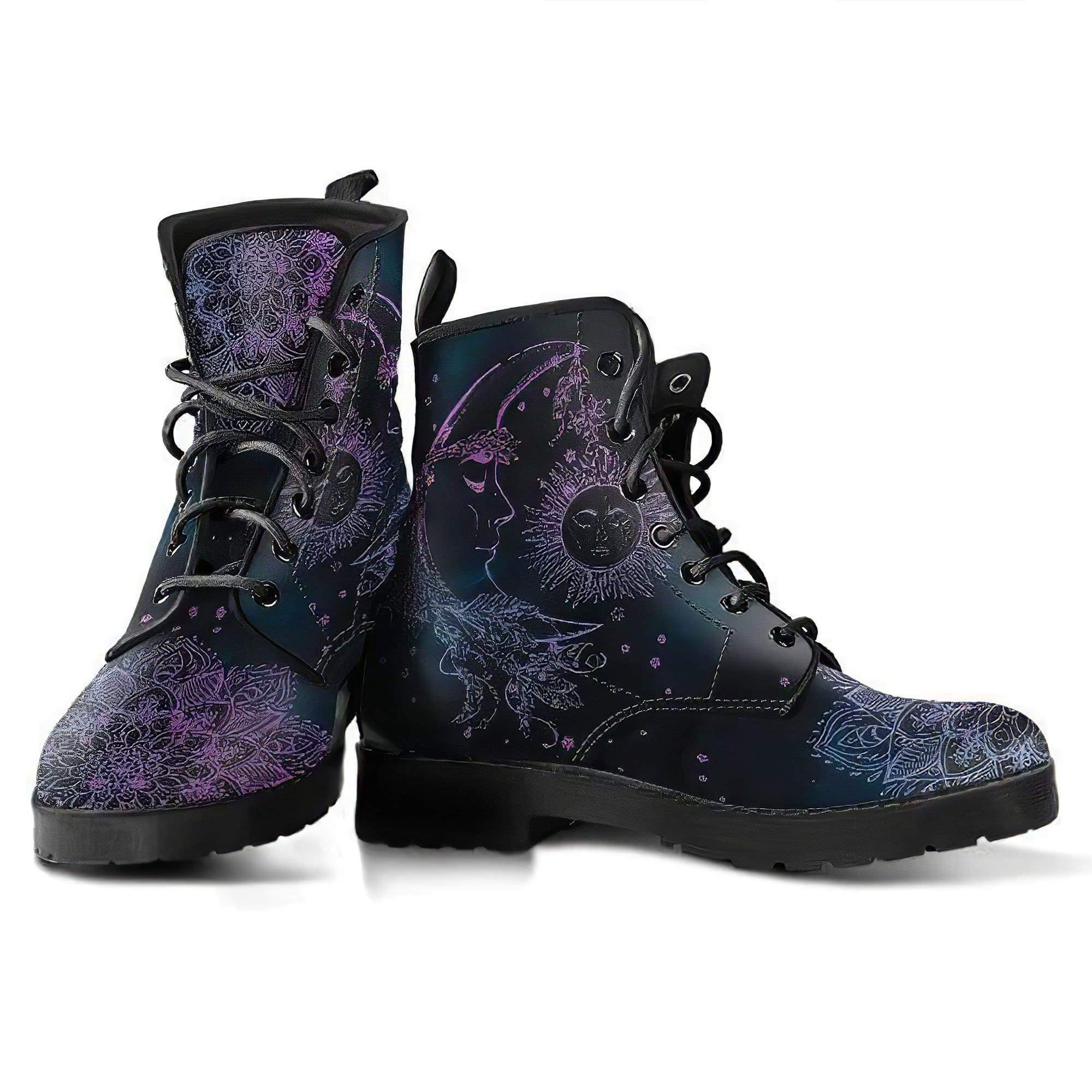 Purple Sun Moon Handcrafted Boots Women's Leather Boots