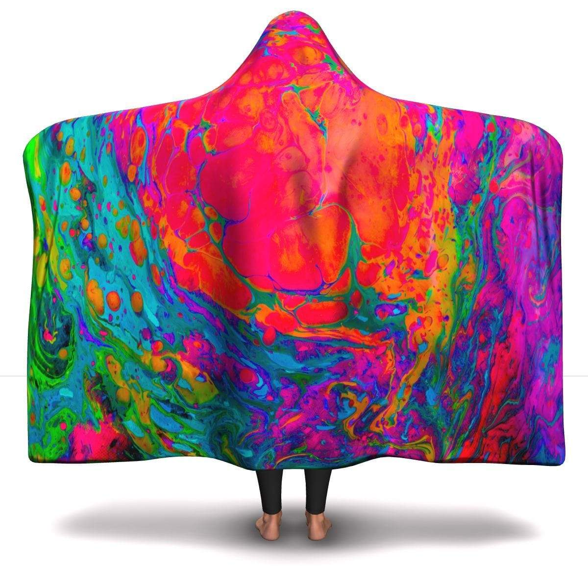 Rainbow Splash Hooded Blanket Hooded Blanket Adult / Premium Sherpa