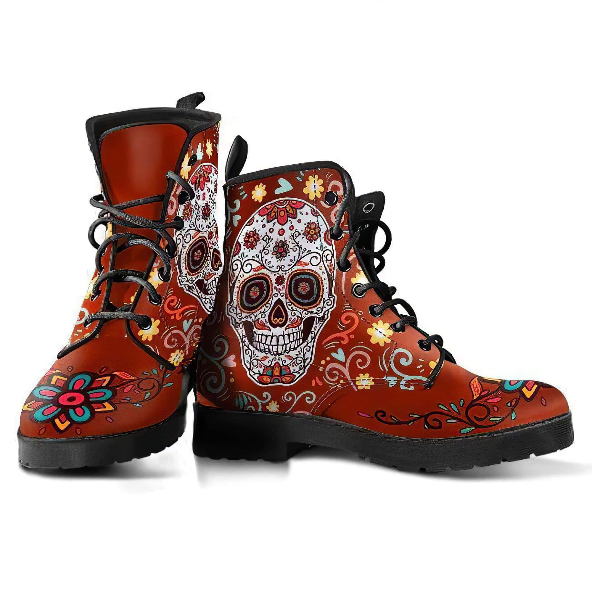Red Sugar Skull Women's Boots Vegan Friendly Leather Women's Leather Boots