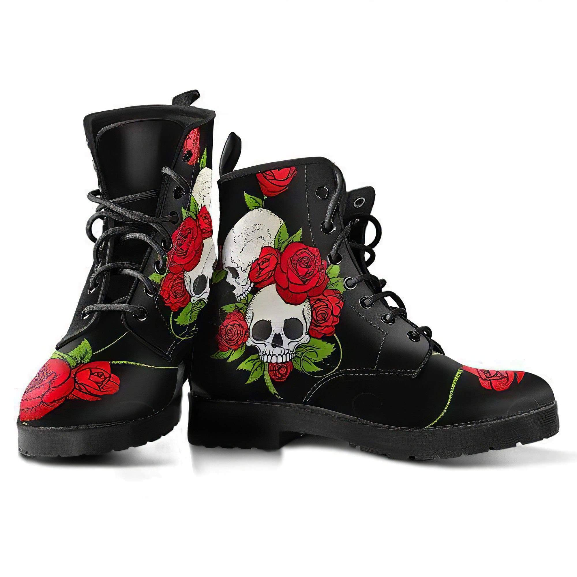 Skull & Roses Women's Boots Vegan Friendly Leather Women's Leather Boots