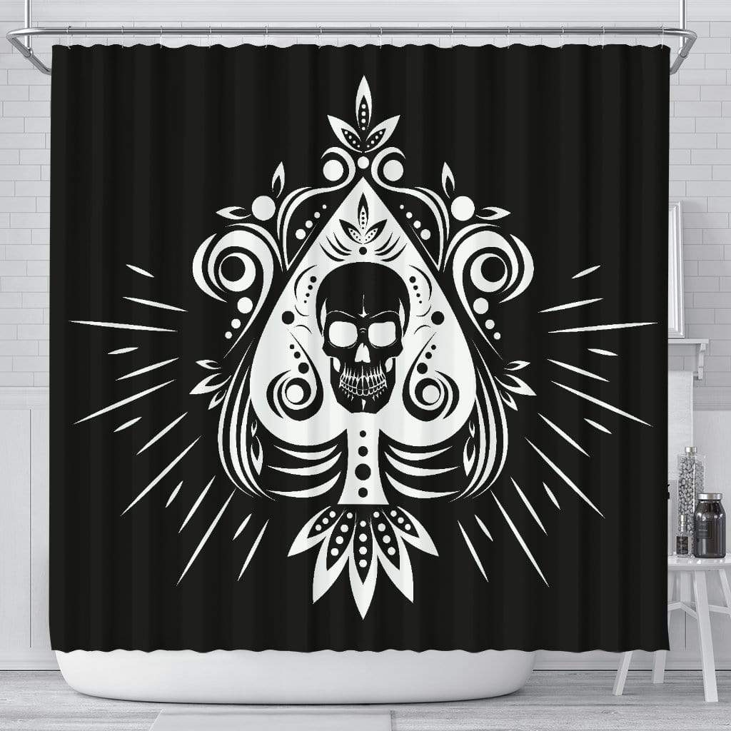 Skull Tattoo Design Black Shower Curtain Shower Curtain Skull Tattoo Design Black Shower Curtain