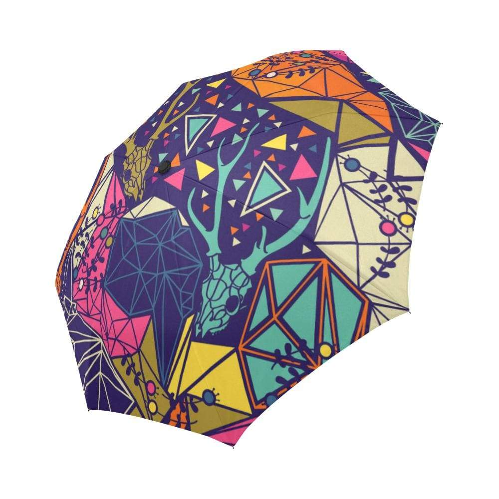 Skull with Floral and Polygonal Ornament Auto-Foldable Umbrella Auto-Foldable Umbrella One Size