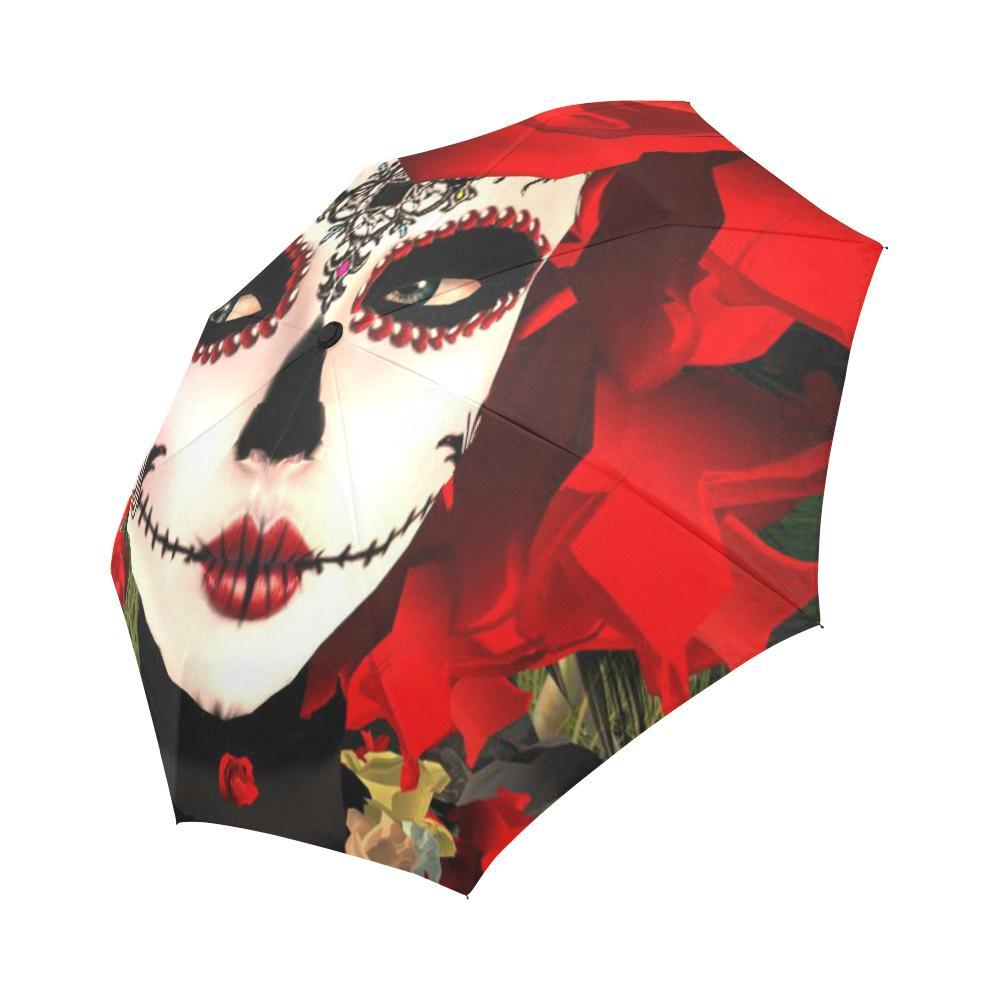Sugar Skull Day of the Dead Flower Auto-Foldable Umbrella Auto-Foldable Umbrella One Size