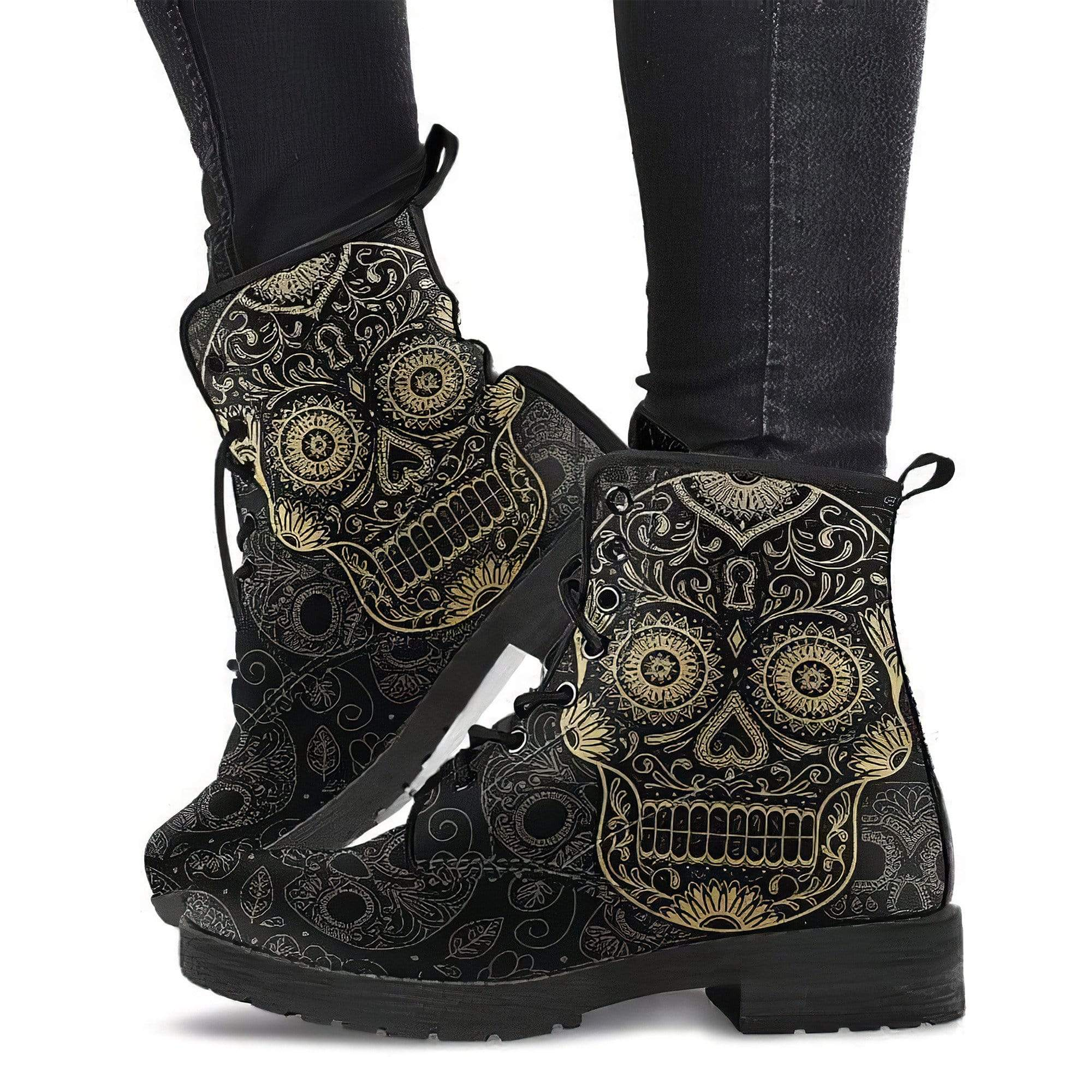 SugarSkull 1 Women's Boots Vegan Friendly Leather Women's Leather Boots