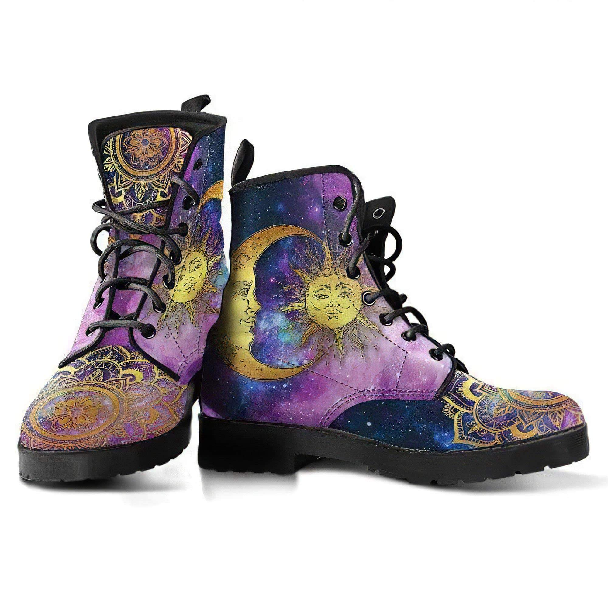 Sun and Moon Mandala Handcrafted Boots Women's Leather Boots