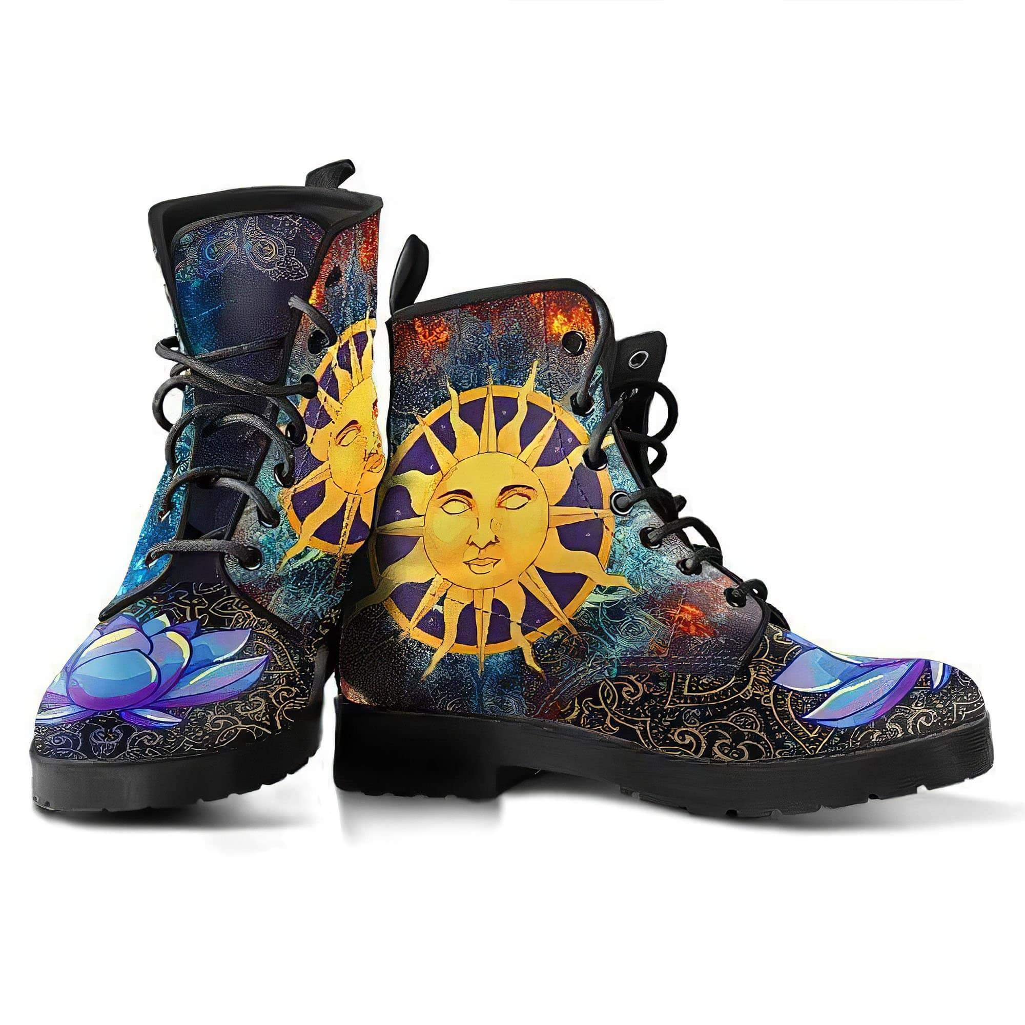 Sun & Moon Lotus Women's Boots Vegan Friendly Leather Women's Leather Boots
