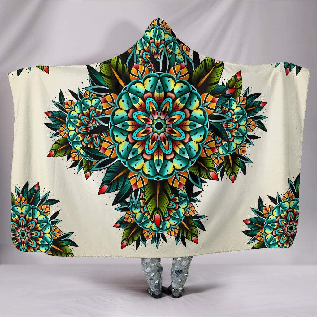 "Tattoo Kaleidoscope Mandala Hooded Blanket Hooded Blanket Hooded Blanket / Youth 60""x45"""
