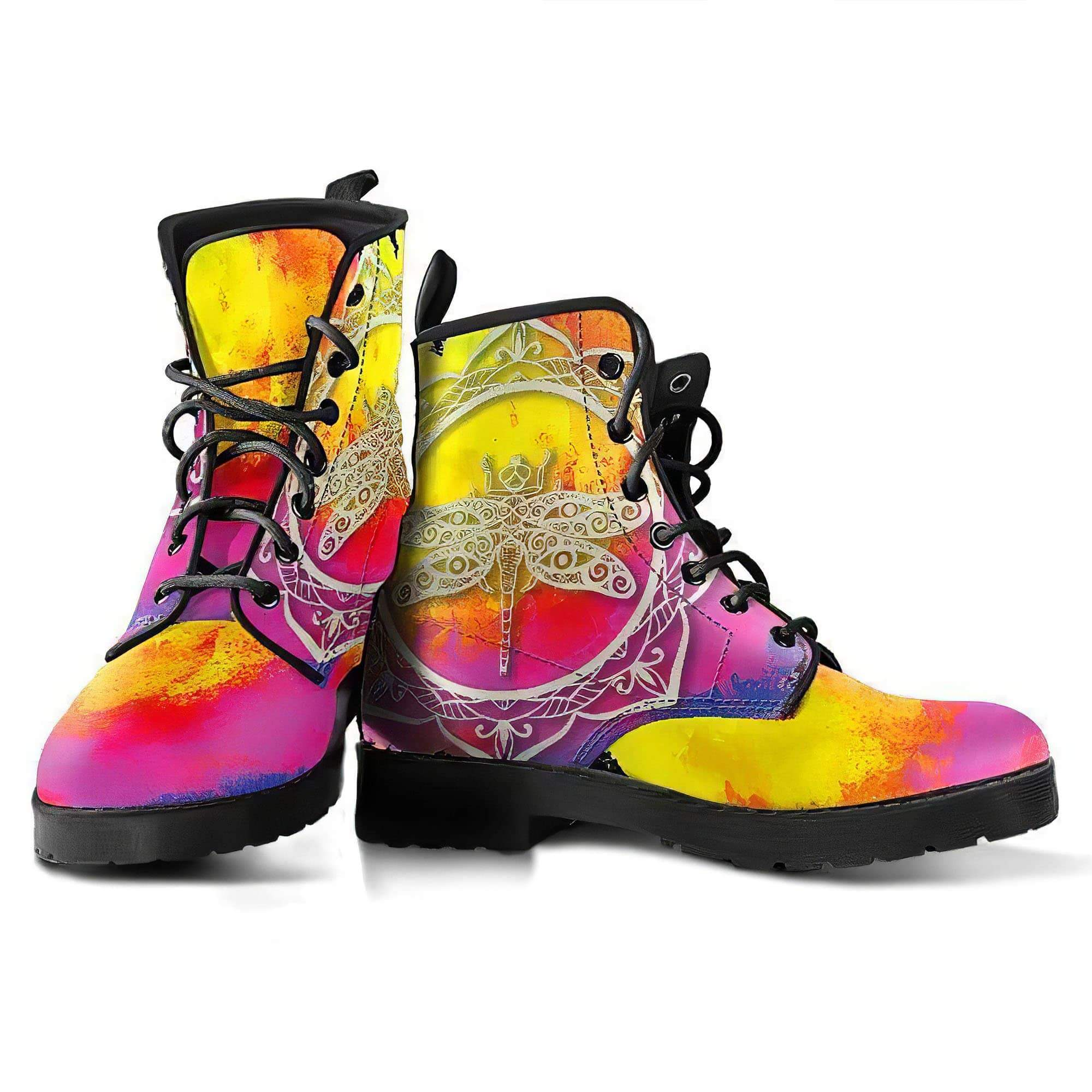 Watercolor Dragonfly 5 Women's Boots Vegan Friendly Leather Women's Leather Boots