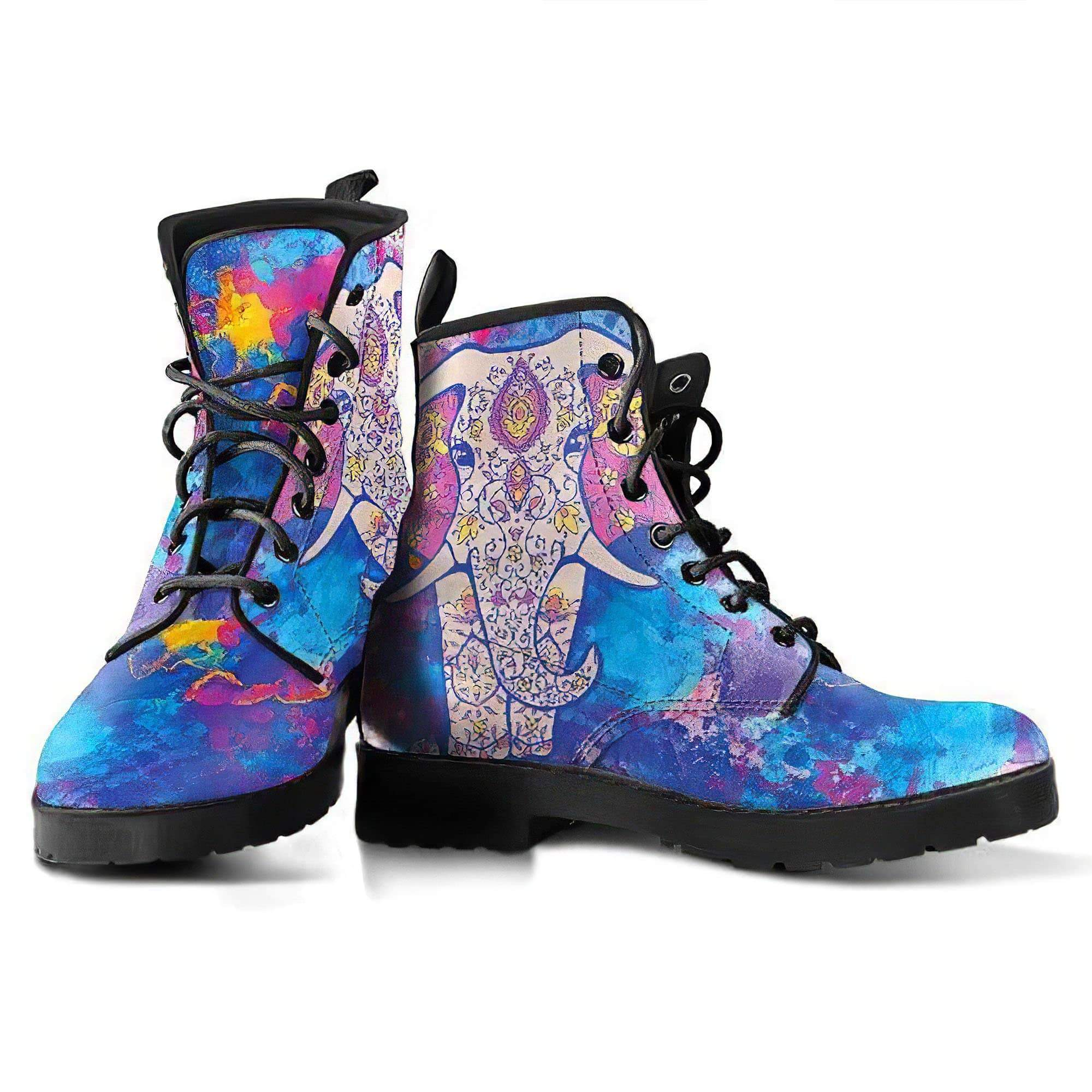 Watercolor Elephant Handcrafted Boots Women's Leather Boots