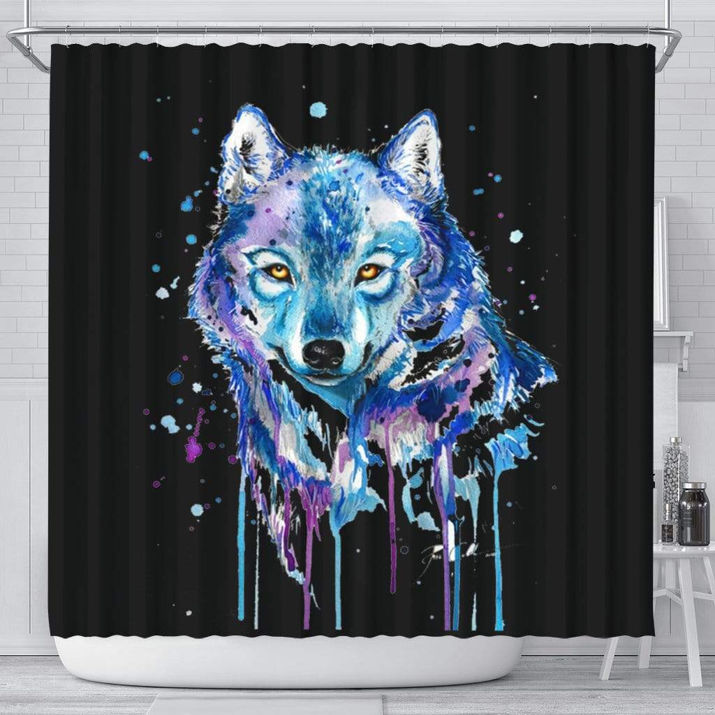 Watercolour Wolf Shower Curtain Shower Curtain Watercolour Wolf Shower Curtain
