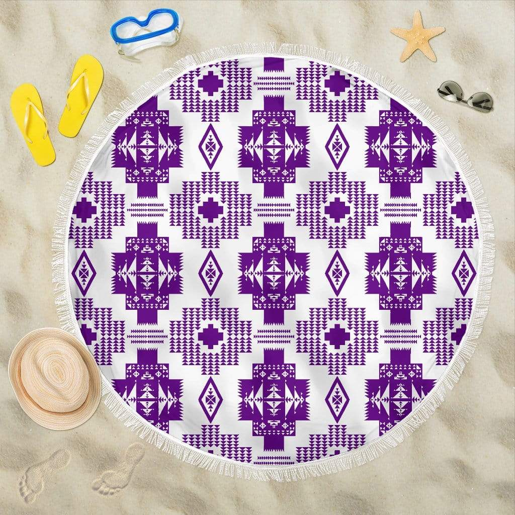 White with Purple Beach Blanket Beach Blanket White with Purple Beach Blanket