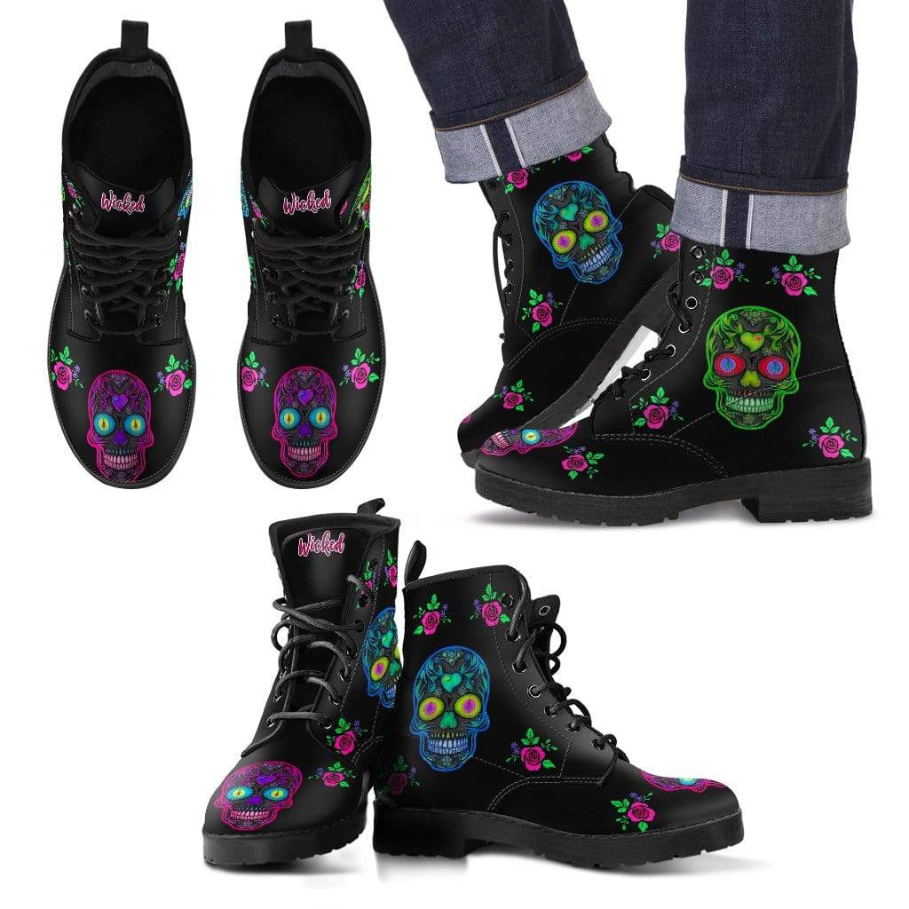 Wicked Skulls Men's Leather Boots Men's Leather Boots / US5 (EU38)