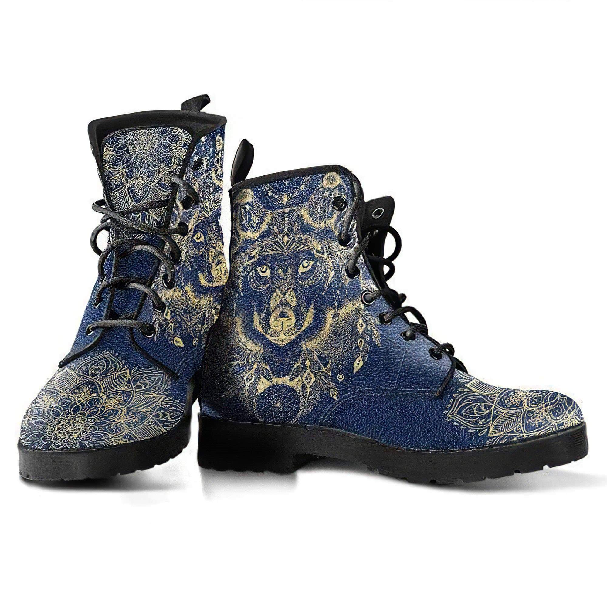 Wolf Mandala Handcrafted Boots Women's Leather Boots