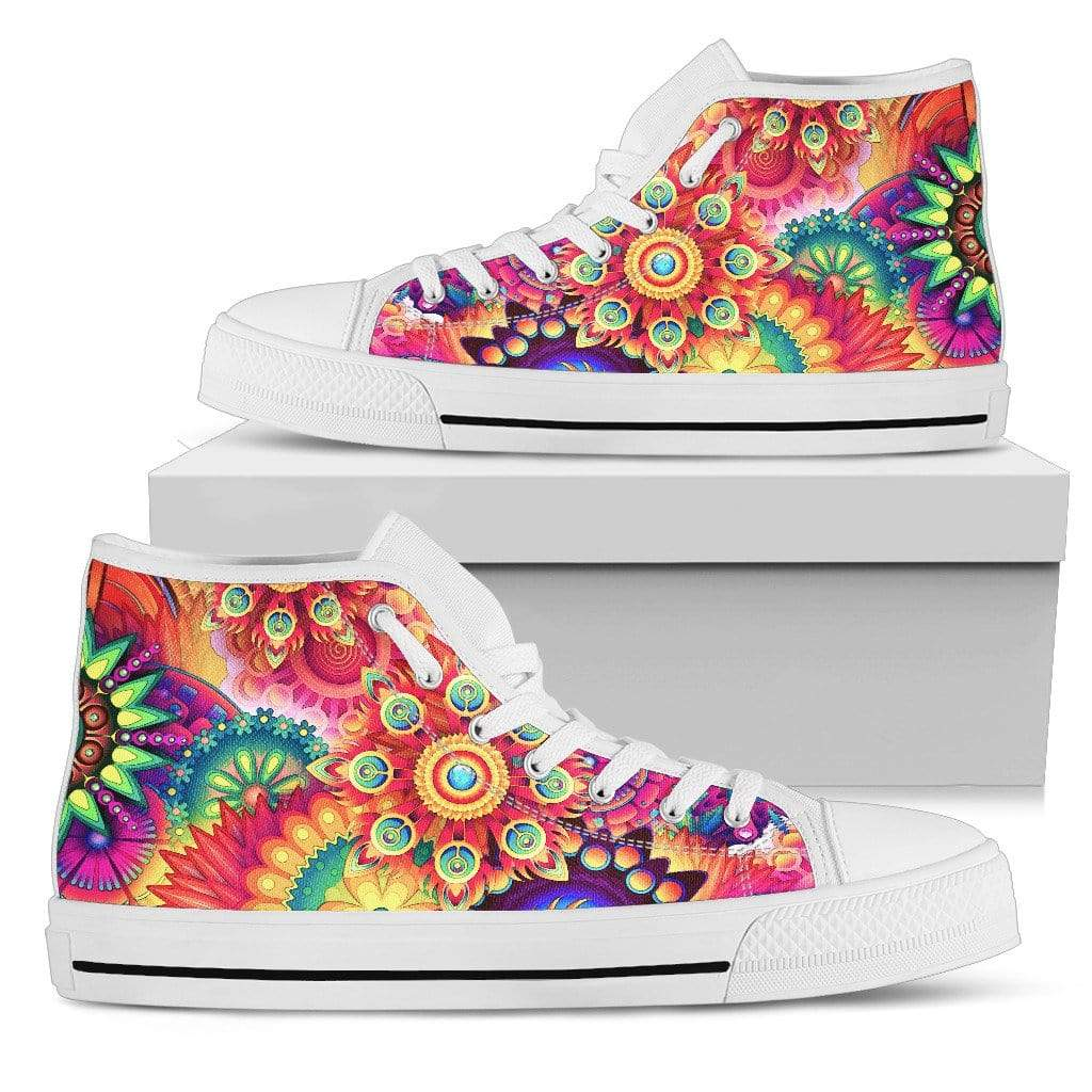 Women's High Tops Colorful Patterns (White Soles) Women's High Top Shoe Women's High Top Shoe / US5.5 (EU36)