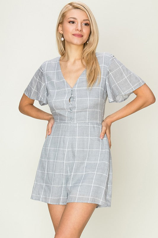 Grid Plaid Romper