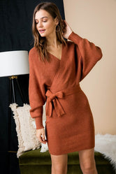 Luxe Wrap Sweater Dress - PREORDER ONLY