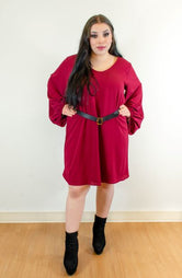 Wine Balloon Sleeve Dress (PLUS SIZE)