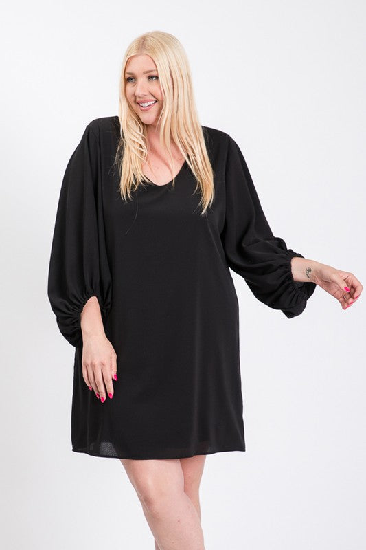 Black Balloon Sleeve Dress (PLUS SIZE)