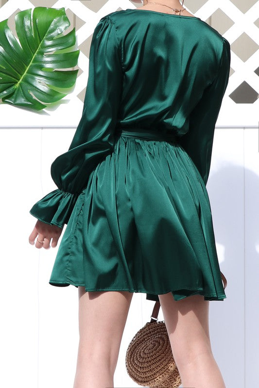 Green Mini Satin Dress - SOLD OUT
