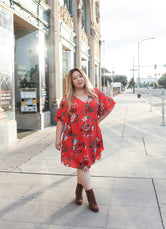 Red Orange Floral Dress (PLUS SIZE)