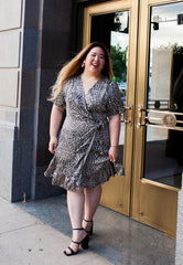 Leopard Ruffled Wrap Dress (PLUS SIZE)