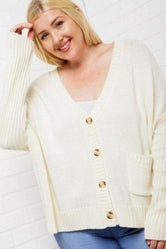 Ivory Buttoned-Down Cardi (PLUS SIZE)