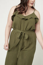Olive Ruffled Jumpsuit (PLUS SIZE)