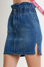High-waisted Paperbag Denim Skirt (PLUS SIZE)