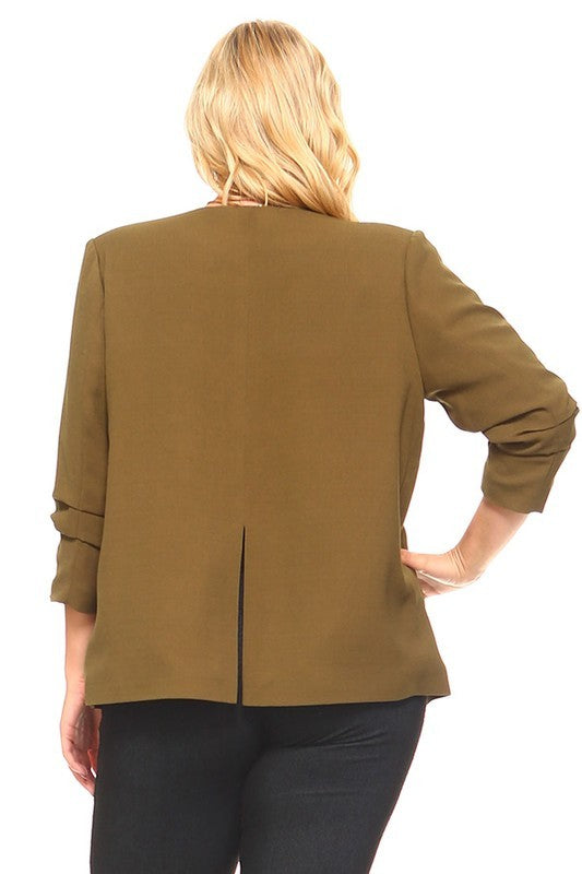 Ruched Button Blazer (PLUS SIZE)