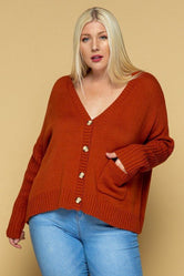 Rust Buttoned-Down Cardi (PLUS SIZE)
