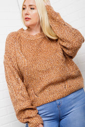 Knit Marled Sweater (PLUS SIZE)