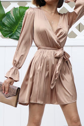 Champagne Mini Satin Dress - SOLD OUT