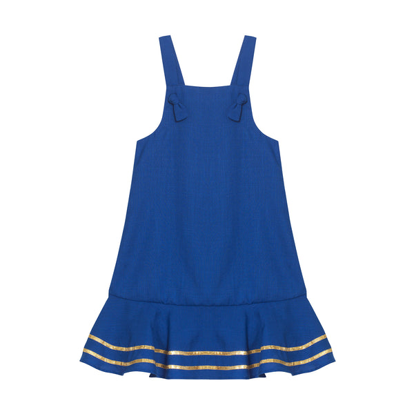 Kelsey Dress - Ultramarine with Antique Gold Trim