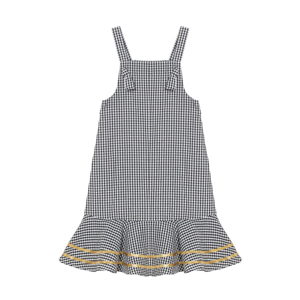Kelsey Dress - Mono Gingham with Antique Gold Trim