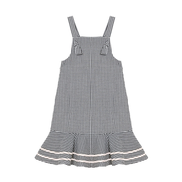 Kelsey Dress - Mono Gingham with Crème White Trim