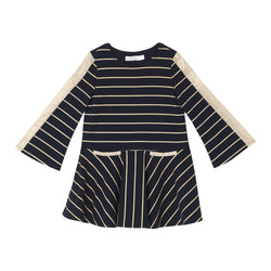 Madonna Dress - Navy Gold Stripe