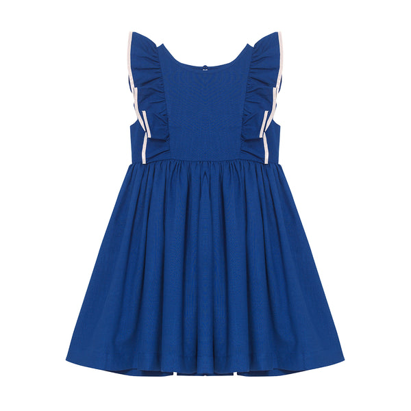 Maya Dress - Ultramarine with Crème White Trim