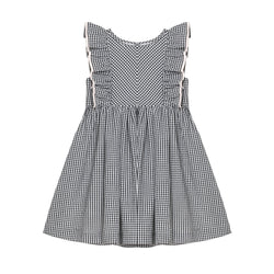 Maya Dress - Mono Gingham with Crème White Trim