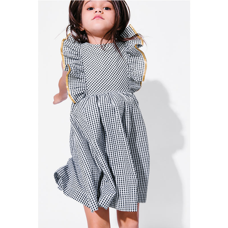 Maya Dress - Mono Gingham with Antique Gold Trim