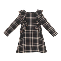 Alicia Dress - Charcoal Glen Plaid