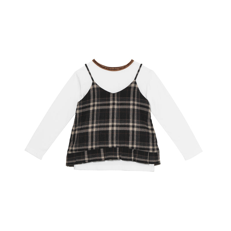 Dionne Top - Charcoal Glen Plaid
