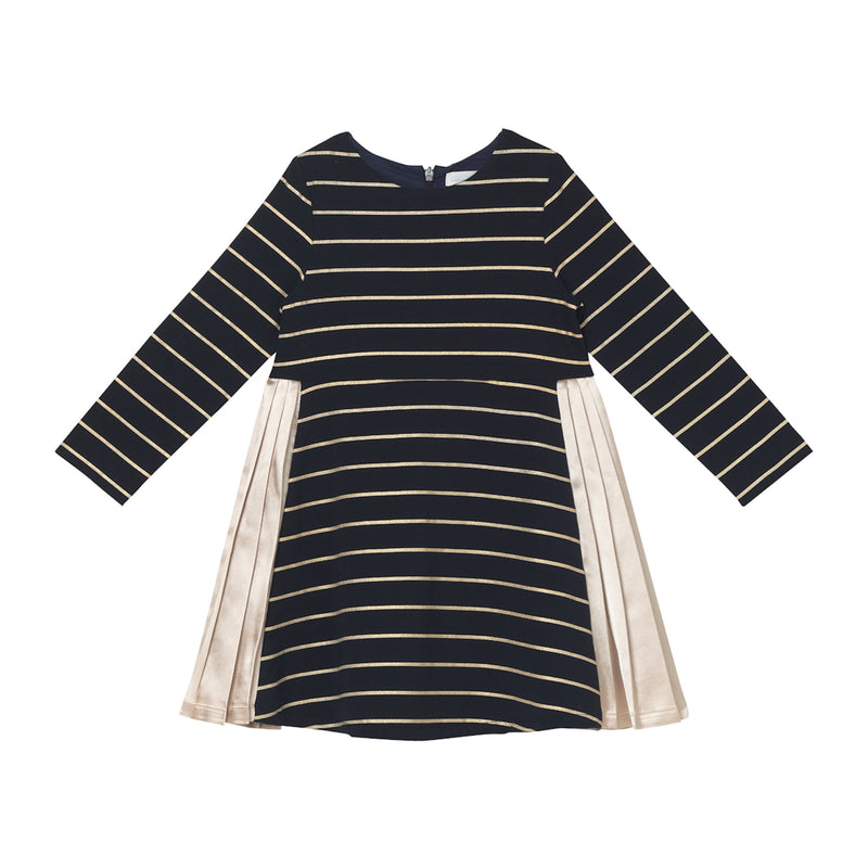 Daphne Dress - Navy Gold Stripe