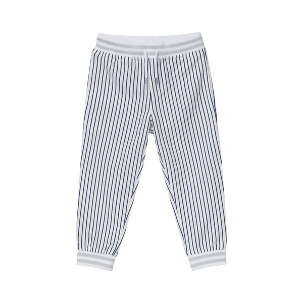 J. Fox Jersey Pants - Navy Pinstripe