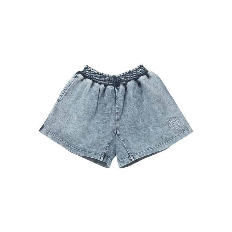 Riley Flare Shorts - Stone Washed Denim