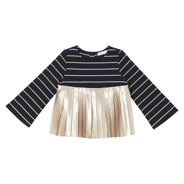 Daphne Top - Navy Gold Stripe