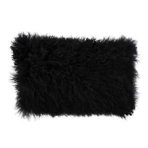 Black Fur Lumbar Pillow