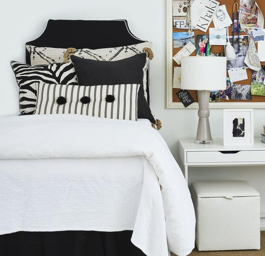 Black with White Pipe Headboard