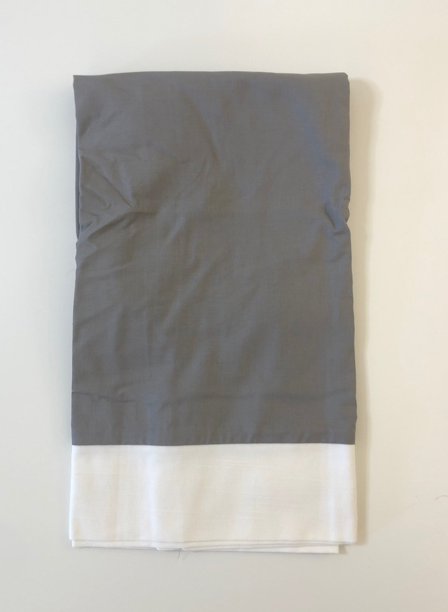 SS-Pewter with White Band Twin XL Bedskirt