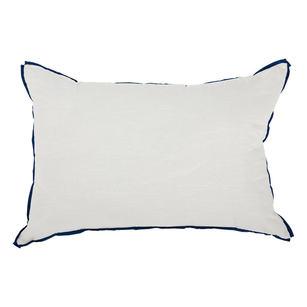 White with Prussian Flange Oversized Pillow