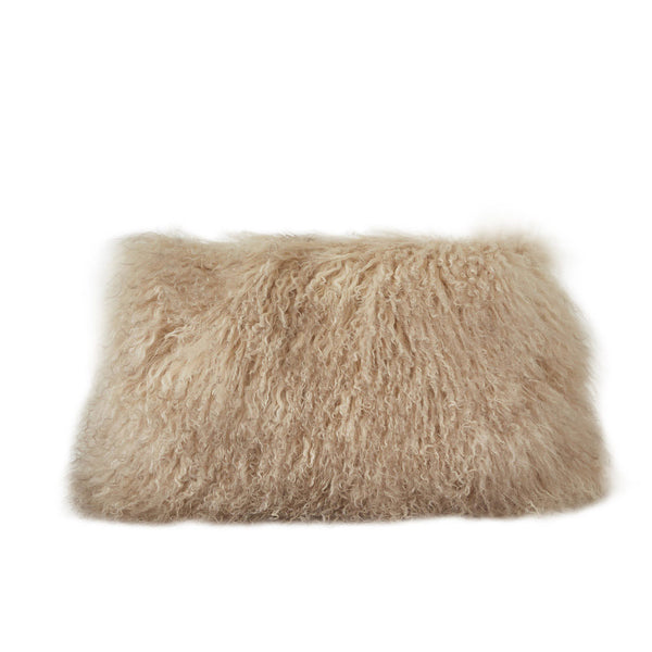 Tan Fur Lumbar Pillow
